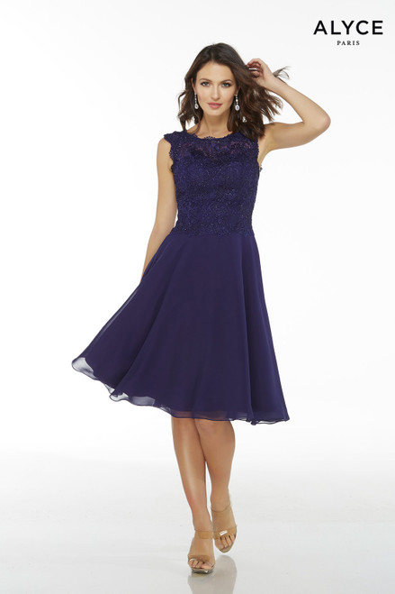 Short Cobalt flowy chiffon sleeveless mother of the bride dress with a lace bodice