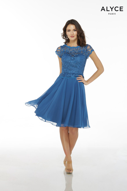 Blue chiffon knee length cocktail dress for women with a lace bodice and short sleeves