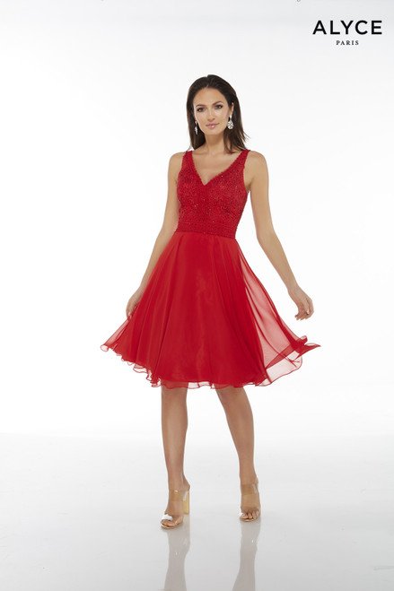 Red flowy chiffon sleeveless cocktail dress with a lace embellished, V-neck top