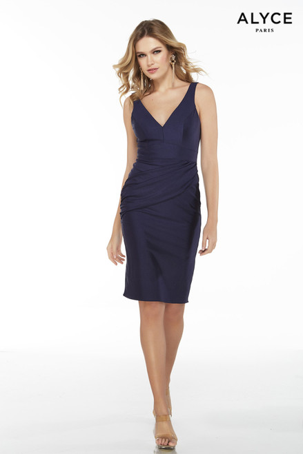 Midnight Blue draped power jersey bodycon cocktail dress with a V-neckline