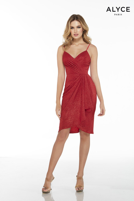 Red textured jersey sexy cocktail dress with a V-neck, pleated bodice, and waterfall skirt