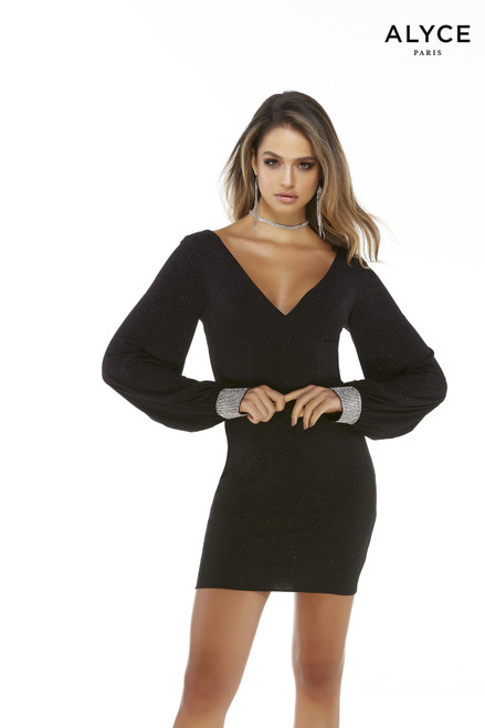Black sparkly homecoming dress with puff sleeves, a plunging neckline, and embellished cuffs
