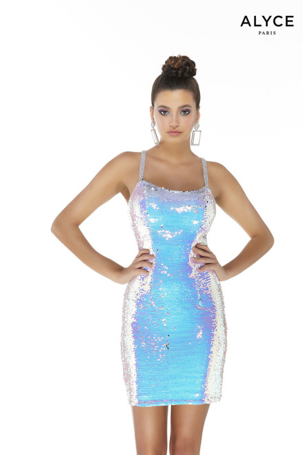 Blue iridescent sequin homecoming dress with a scoop neck