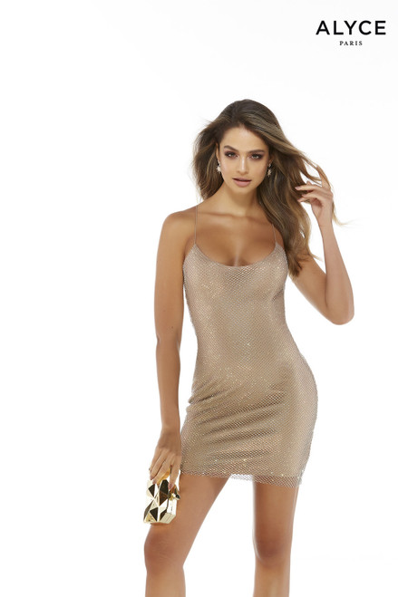 Tan crystal mesh short bodycon party dress with a scoop neckline