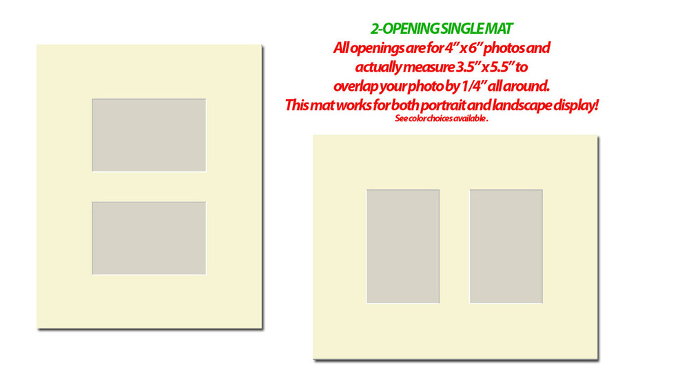 11 x 14 Photo Mat with 2 openings (4x6) (Pack of 10)(Multi-opening - 1114_246)