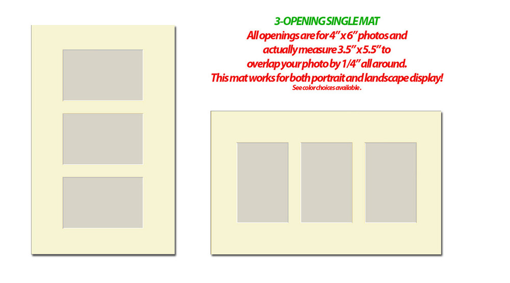 10 x 16 Double Photo Mat with 3 openings (4x6)