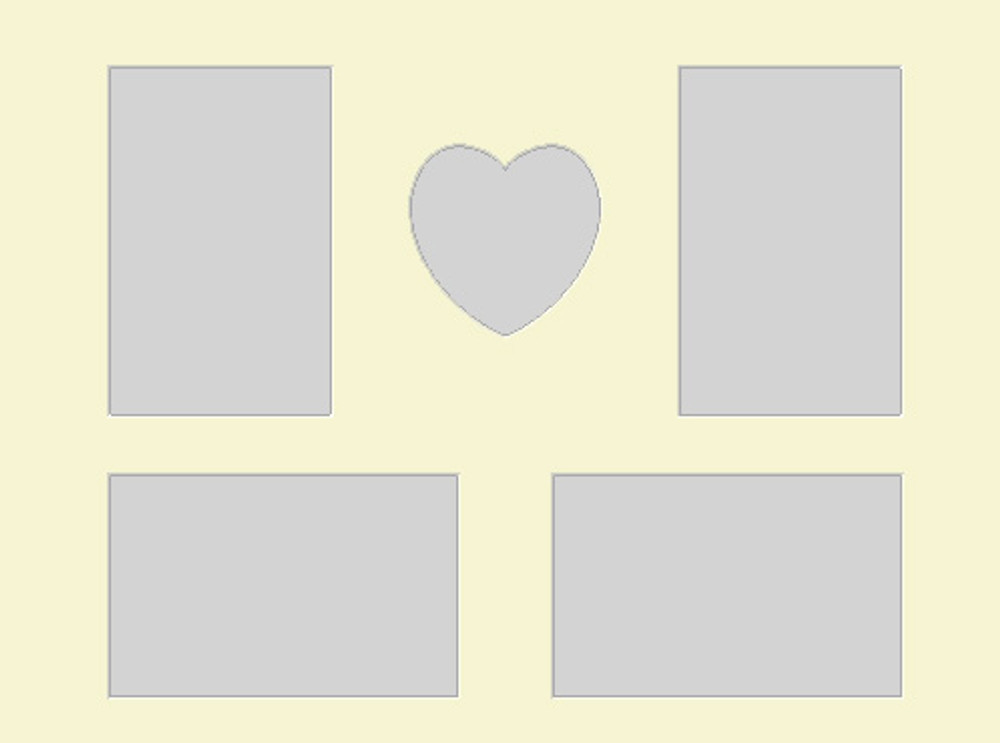 16x12 Photo Mat with Heart and 4 openings (4x6)  (Pack of 5)(Multi-Opening heart4x46multisingle1216)