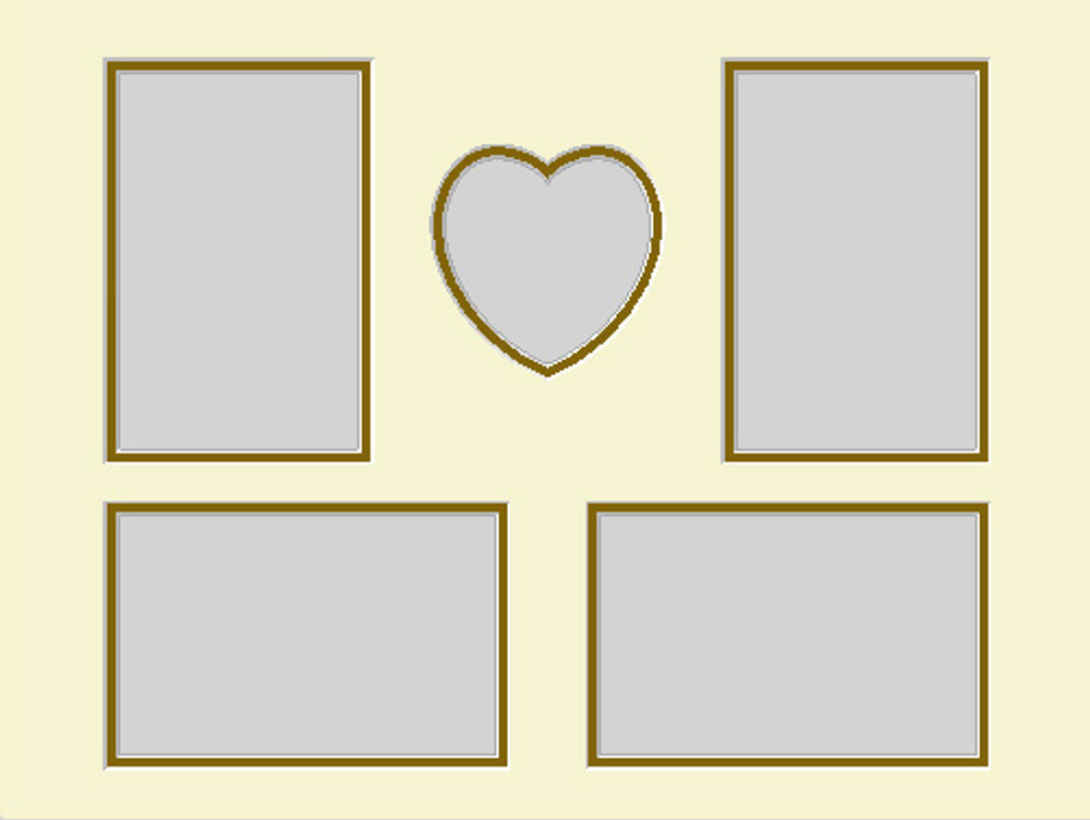 16x12 Double Photo Mat with Heart and 4 openings (4x6) (Pack of 5)(Multi-Opening - heart4x46multidouble1216)