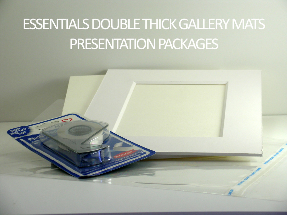 """11 x 14  Essentials Double Thick Mats - includes 25 sets of mats, 1/8"""" Regular Foam core backing, sleeves and tape!"""