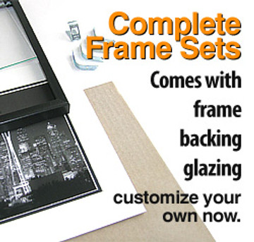 11 x 14 Backload Metal Frame Set (Complete with Standard Clear Glass and Cardboard Backing)