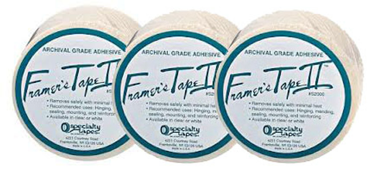1 x 180 ft Framers Tape II Archival Grade Self-Adhesive Acid Free Tape Clear