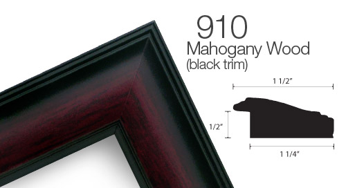 910 Mahogany with Black Accent Wood Frame