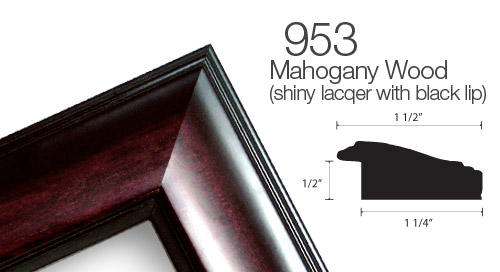 953 Lacquered Mahogany with Black Accent Wood Frame