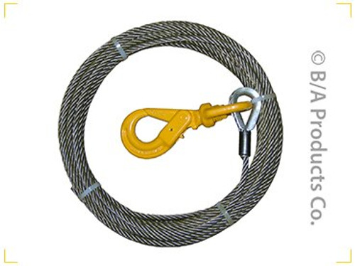 "3/8"" x 75' Fiber Core Winch Cable + Locking Hook"