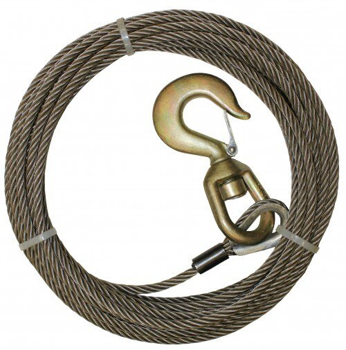 "7/16"" x 50' Fiber Core Winch Cable + Swivel Hook"