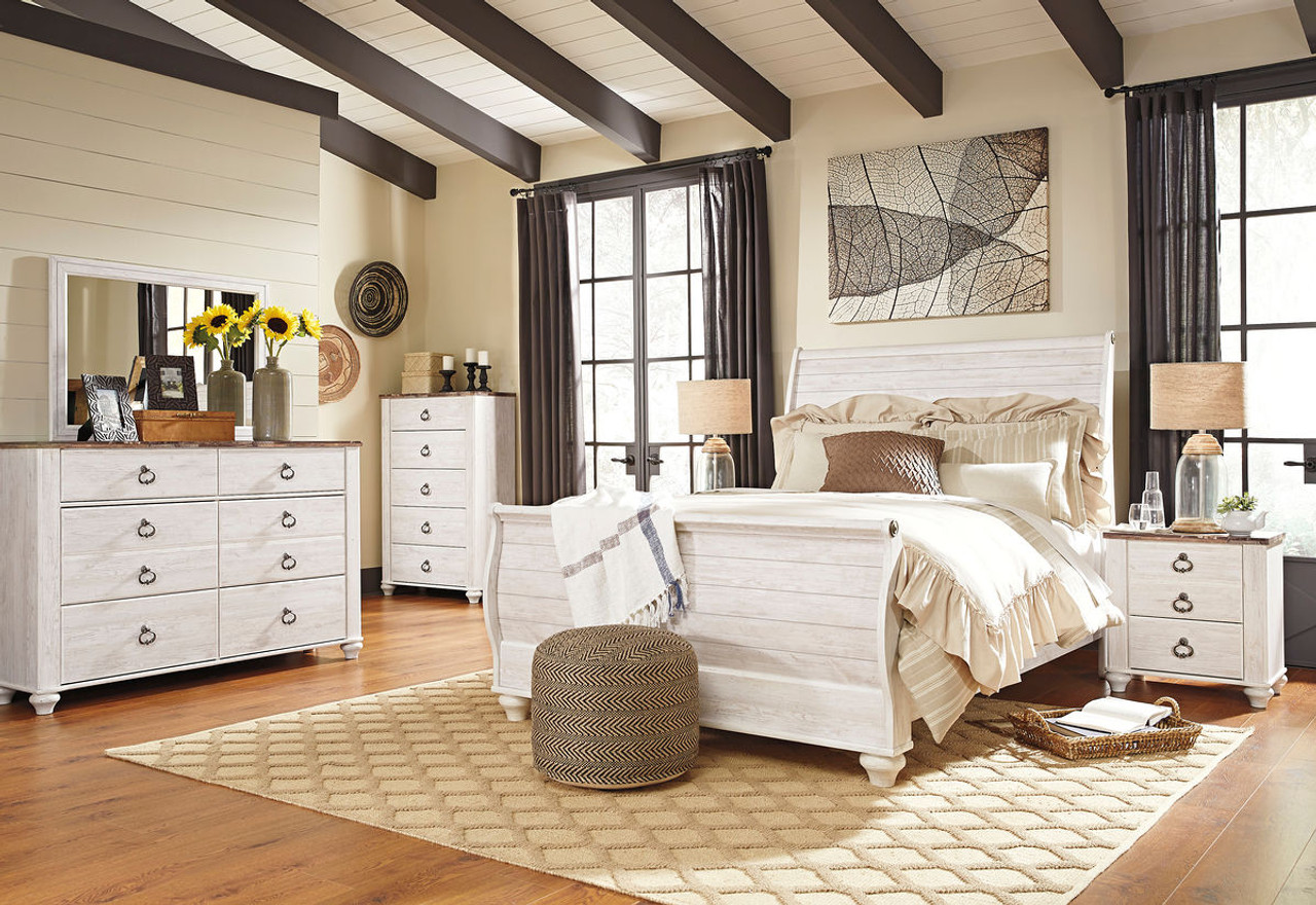The Willowton Whitewash 8 Pc Queen Bedroom Collection ...