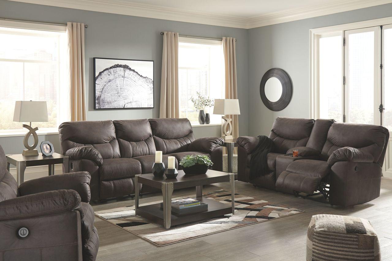 The Boxberg Teak Reclining Power Sofa Double Reclining
