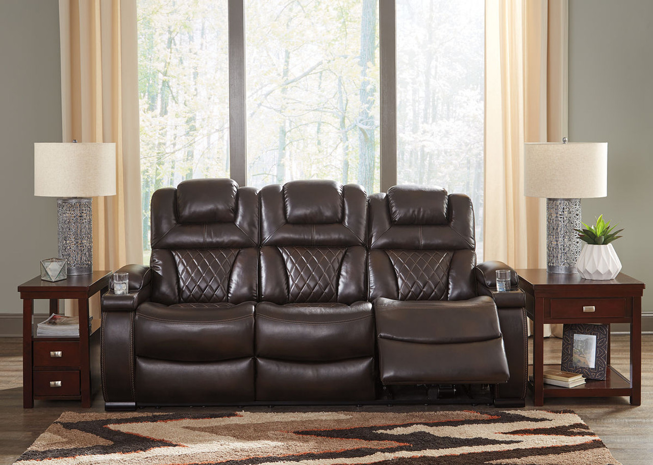 Pleasant The Warnerton Chocolate Power Reclining Sofa With Adjustable Onthecornerstone Fun Painted Chair Ideas Images Onthecornerstoneorg