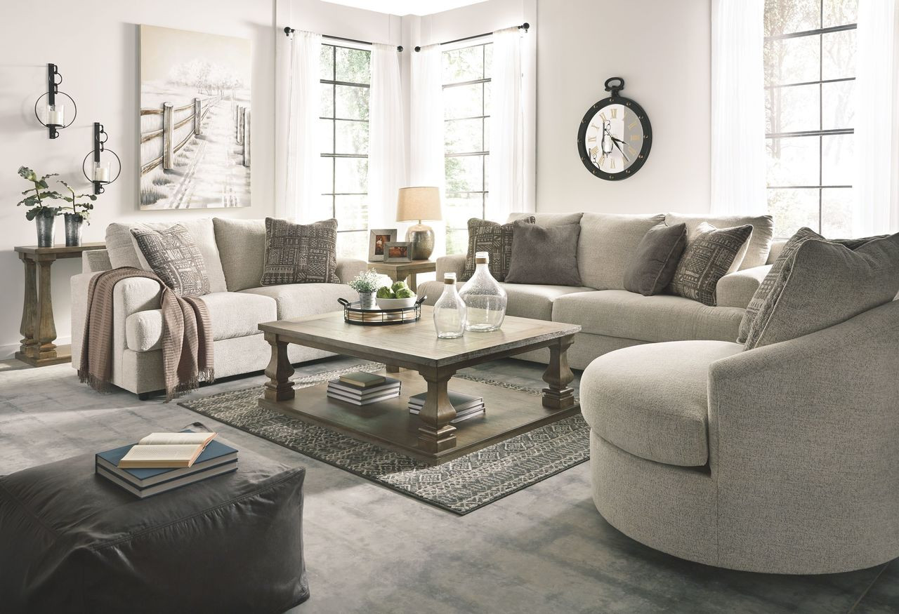 The Soletren Stone Sofa Loveseat Swivel Accent Chair