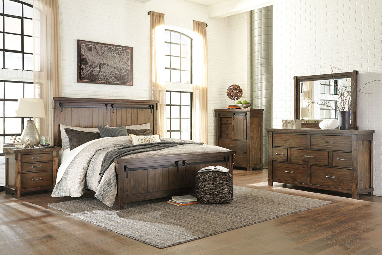 The Lakeleigh Brown 8 Pc.King Panel Bedroom Collection ...