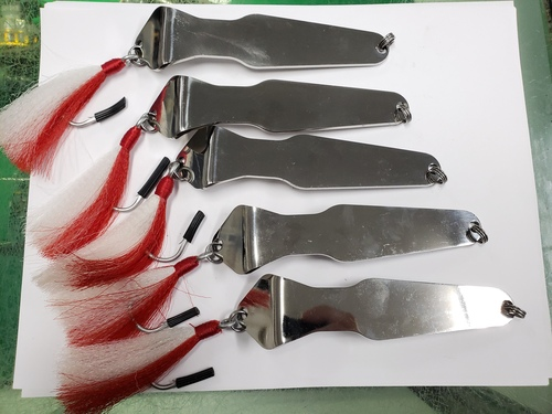 Used #20 Capt Sharpie Lures Chrome 3oz Red Tail (Lot of 5 Lures)