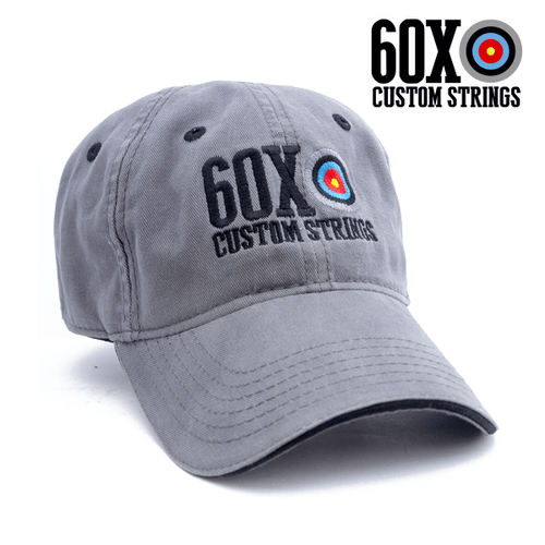 simple, grey cap with 60X Custom Strings logo