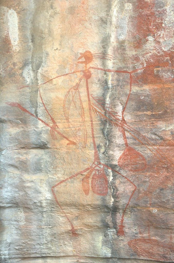 ancient cave painting of lone archer