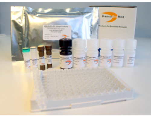 ExoTEST Ready to Use test Kit for Overall Exosome capture and quantification from cell culture supernatant (white plate, with lyophilized exosomes from COLO1 cells)