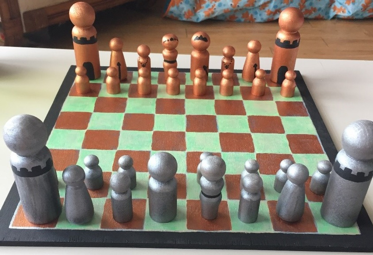 Diy Wooden Chess Set Board And Pieces With Peg Dolls
