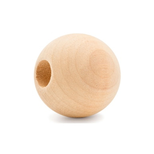 """1"""" Round Wooden Ball Bead, 3/8"""" Hole"""