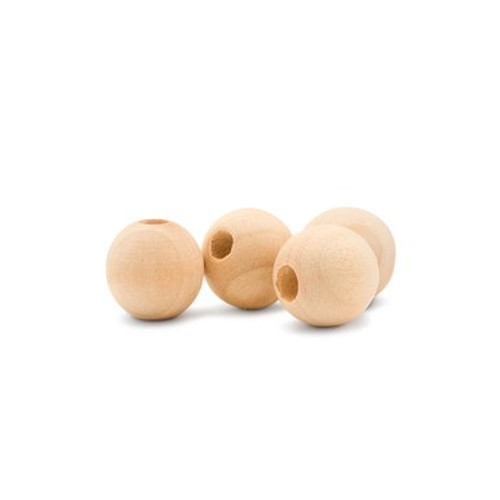 "1"" Round Wooden Ball Bead, 3/8"" Hole"