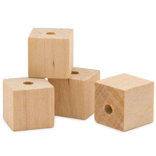 "1/2""  Wooden Square Bead"