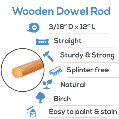 "wooden dowel rods 3/16"" x 12"" hardwood dowel rods for DIY crafting and woodworking projects"