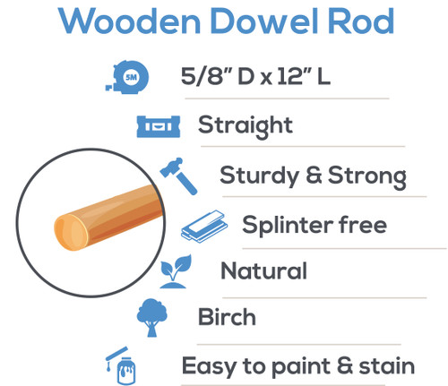"wooden dowel rods 5/8"" x 12"" hardwood dowel rods for DIY crafting and woodworking projects"