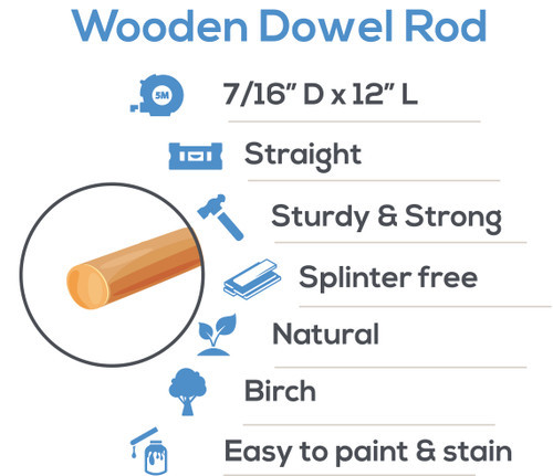 "wooden dowel rods 7/16"" x 12""  hardwood dowel rods for DIY crafting and woodworking projects"