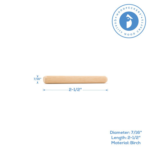 "2-1/2"" x 7/16"" Fluted Wood Dowel Pin"