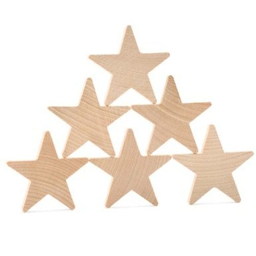 """1-1/2"""" Wooden Star Cut Out, 3/16"""" Thick"""