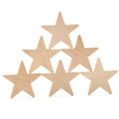 "2"" Star Wooden Cutout,1/4"" Thickness"