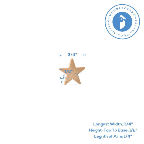 """3/4"""" Wooden Star Cutout, 3/16"""" Thick."""