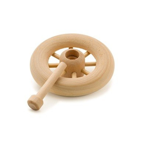 """1-3/4"""" Spoked Wood Wheel and Axle  Keep your woodwork projects rolling along! This graceful and sturdy spoked wooden wheel makes for a great """"mobile"""" adventure, and comes with a matching wood axle."""