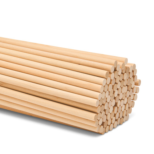 """wooden dowel rods 1/4"""" x 18"""" hardwood dowel rods for DIY crafting and woodworking projects"""