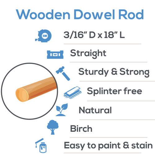 """wooden dowel rods 3/16"" x 18"" hardwood dowel rods for DIY crafting and woodworking projects"