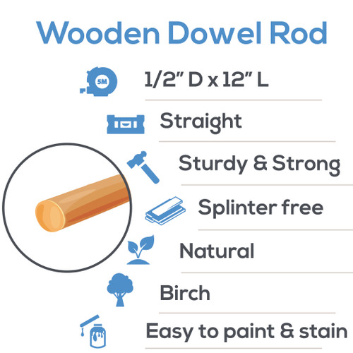 "wooden dowel rods 1/2"" x 12"" hardwood dowel rods for DIY crafting and woodworking projects"