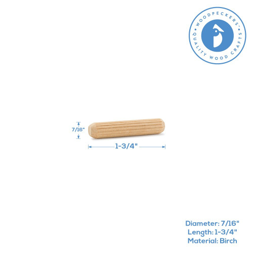 "1-3/4""  x 7/16"" Fluted Dowel Pin"