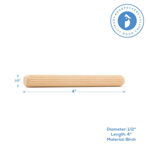 """4"""" x 1/2"""" Fluted Dowel Pin"""