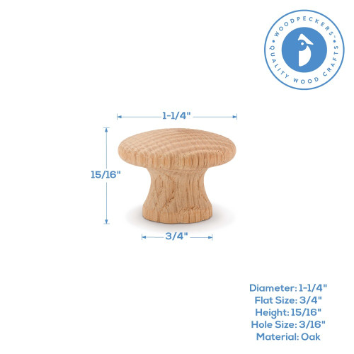 "1-1/4"" Oak End Grain Knob"