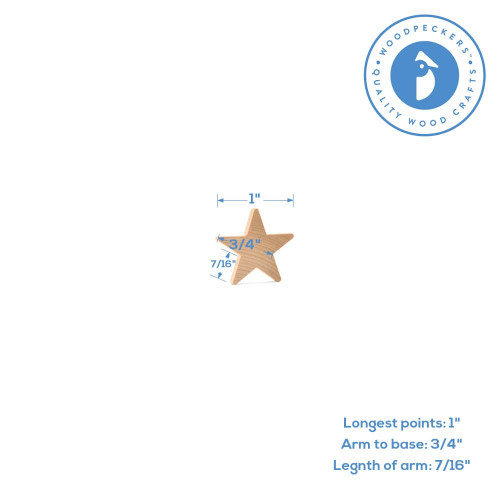"""1"""" Wooden Star, 3/16"""" Thick"""