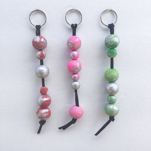 Marbled Wood Bead Keychain