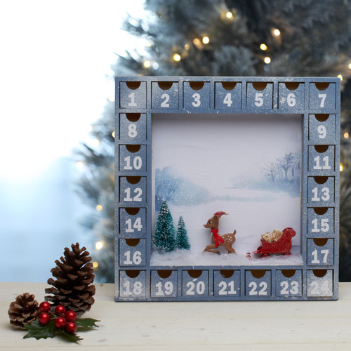 Advent Calendar Shadow box with drawers for kids perfect  DIY Christmas craft