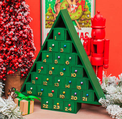 Unfinished Wooden Christmas Tree Advent Calendar